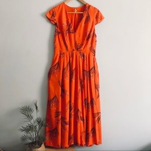 Free People Orange Maxi Dress with Pockets